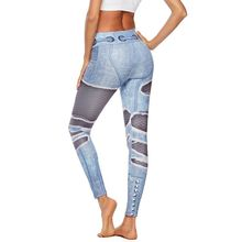 Ripped push up leggings women 3D print jeans workout leggings fitness feminina plus size denim high waist leggings seamless ripped fishnet panel leggings