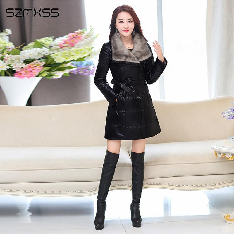 Winter New Women Parka PU Leather Thickening Slim Imitation Mink Fur Collar Coat Lapel Long Sleeve High Quality Elegant Coats