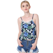 Fanciastic Cotton Floral Print Lace Stitching Summer Tops Sexy V Neck Backless Sleeveless Women's top Ruffles Short Tank Tops