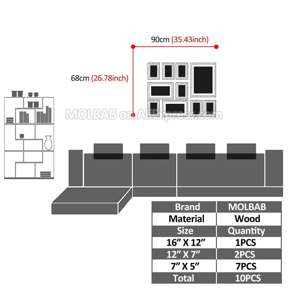 MOLBAB Holz Foto Rahmen Galerie Wand 10 teile/satz Moderne Stil ...