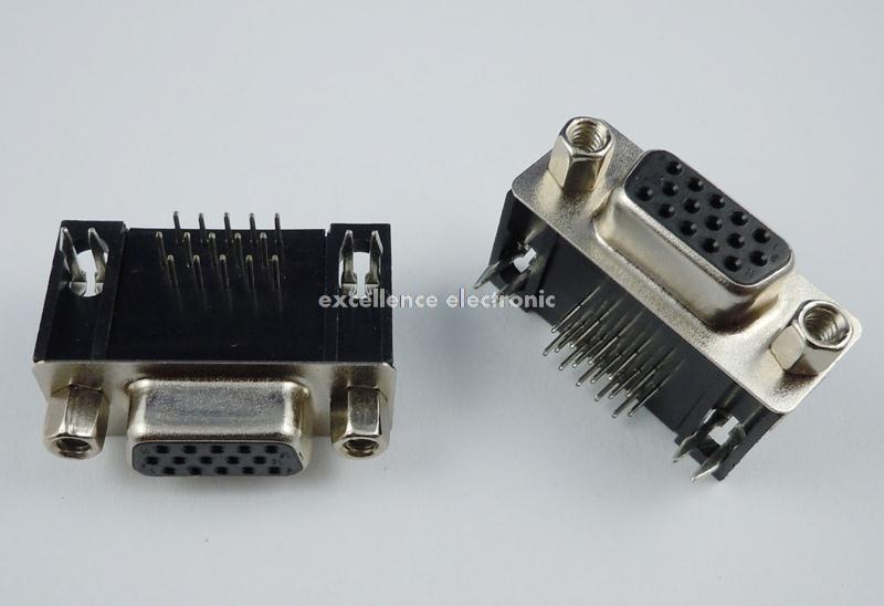 20 Pcs D-SUB Right Angle 15 Pin Female VGA Type 8.89 PCB Connector 3 Rows 50 pcs new d sub 44 pin female solder type plug adapter connector 3 rows serial port connectors