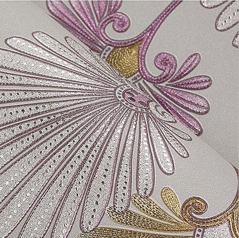 Pastorale Vintage Floral papier peint 3D romantique fleur chambre papier peint pour murs 3D Mural papier peint PVC papier peint or argent - 3