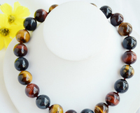 CBN353 Beautiful natural 18mm round yellow red blue tiger's eye bead necklace 17inch
