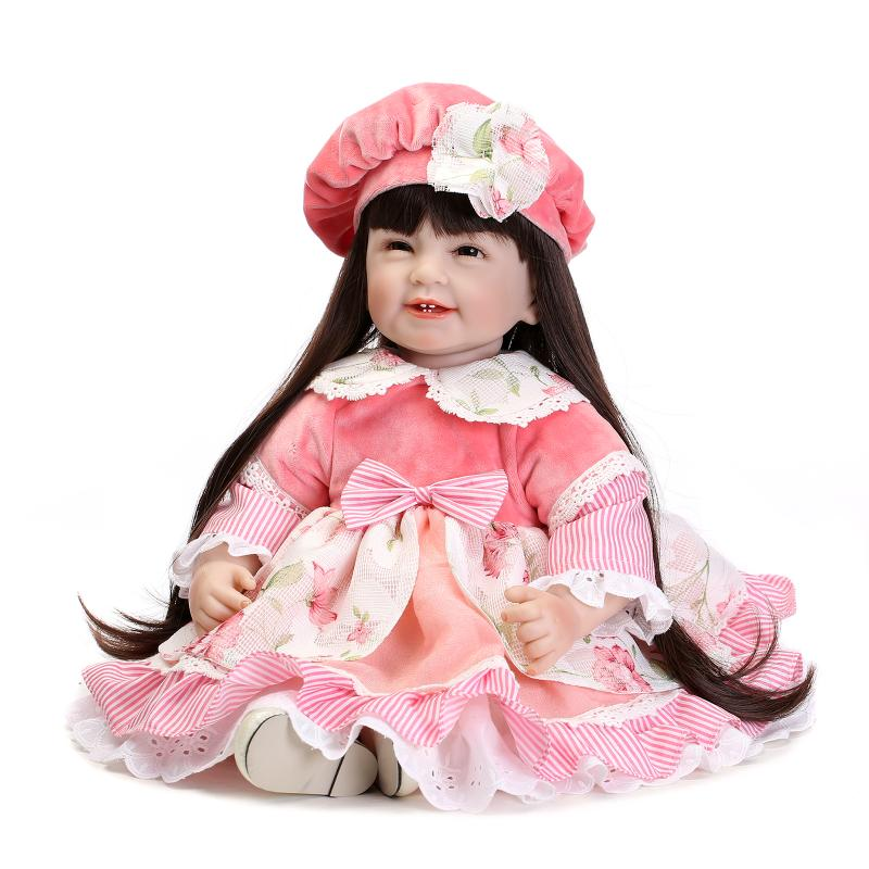 High quality silicone vinyl princess dolls for girl toddler baby toys lifelike accompany baby doll with long hair play house toy lifelike american 18 inches girl doll prices toy for children vinyl princess doll toys girl newest design