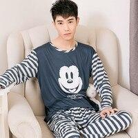 Men S Pajamas Spring Autumn Long Sleeve Home Wear Thin Cotton Plaid Pyjamas Men Lounge Pajama