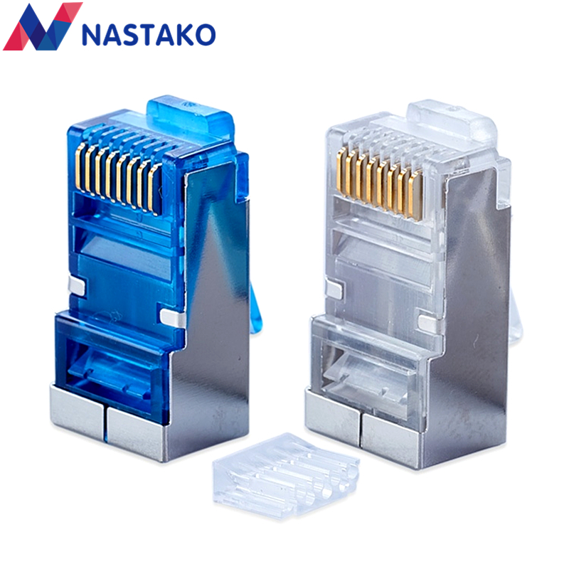 NASTAKO 50pcs Blue Cat6 Cat5e rj45 connector cat 6 network connectors rj45 plug split type stp metal shielded modular terminals 2016 new 30 pcs metal shielded 8p8c rj45 plug network connectors w protective sleeve