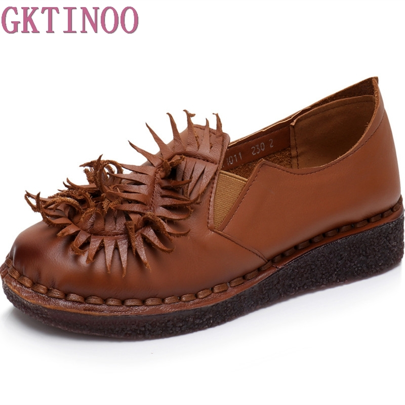 GKTINOO Bow Tassel Loafers Shoe For Women Handmade Genuine Leather Soft Flats Autumn Driving Shoe Round Toe Women Flats gktinoo bow tassel loafers shoe for women handmade genuine leather soft flats autumn driving shoe round toe women flats