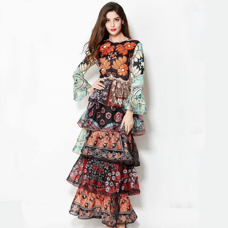 New 2019 Antumn-Winter European American Vintage Floor-Length Layered Flare Sleeve Elegant Vintage Print Dress