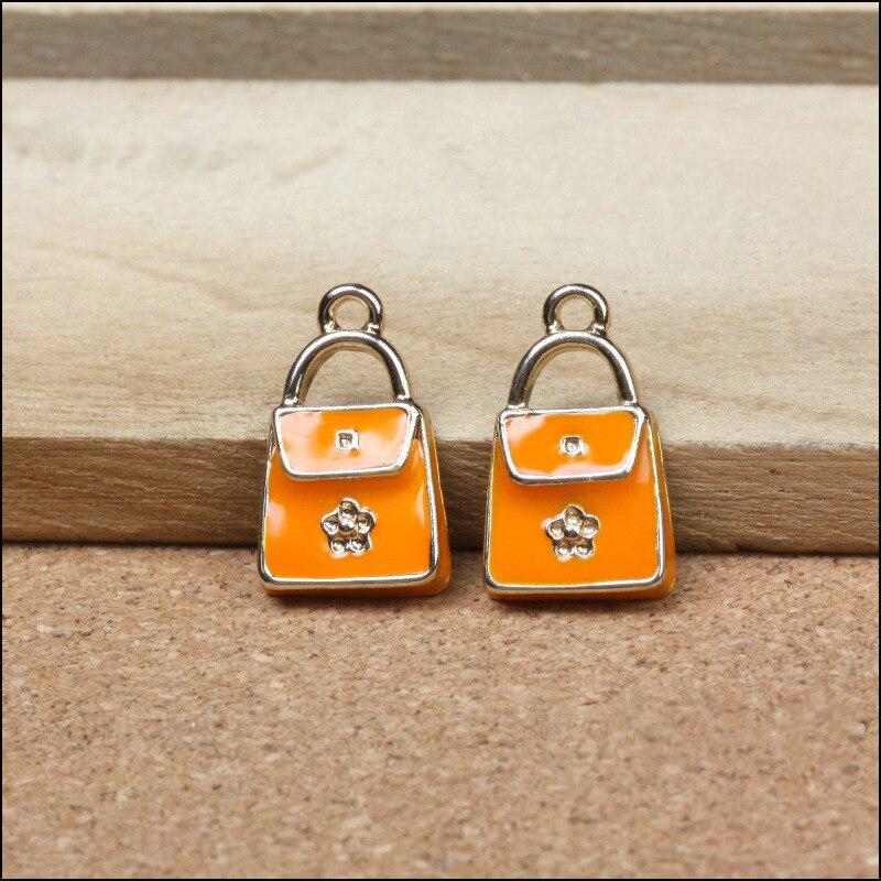 Floral Oil Drop Orange Color Women Fashion Handbag Necklace Pendants Alloy Enamel DIY Jewelry Phone Chain Keyring Bracelet Charm