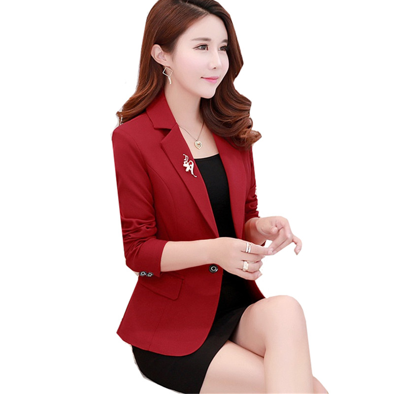 2019 Spring Autumn New Lady Business Office Suit Jacket Slim One Button Black Elegant Blazer Short Outerwear Women Casual Tops