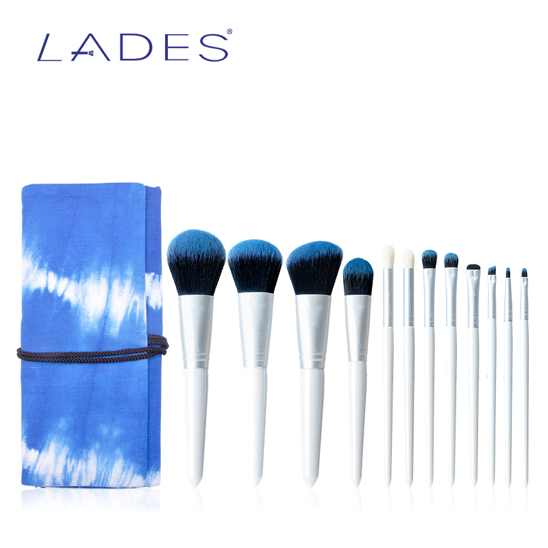 LADES Pro Makeup Brushes Set 12Pcs Powder Foundation Eyeshadow Lip Make Up Brush Cosmetics Soft Synthetic Hair With Skyblue Bag docolor 10pcs makeup brushes set synthetic hair foundation eyeshadow cosmetic brush professional lip powder make up brush