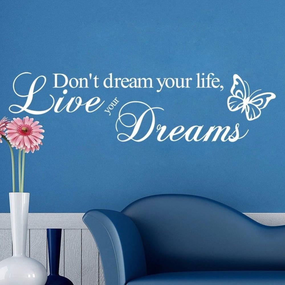 Vivir sus sueños wallstickers mariposas murales de pared sala de estar decorativ