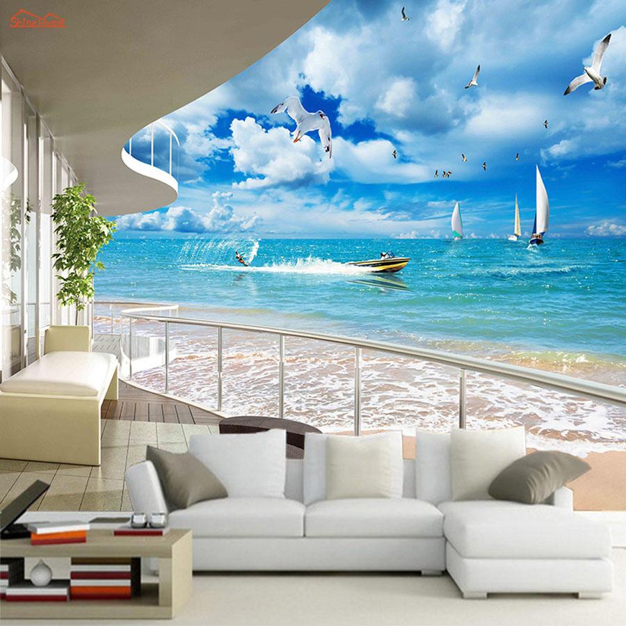 3d Brick Embossed Wallpaper Aliexpress Com Buy Large Balcony Sea Sailing 3d City