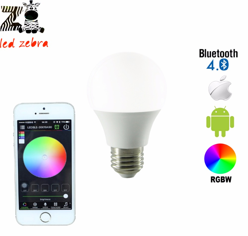 E27 4.5w rgbw bluetooth led bulb,bluetooth 4.0 smart led lamp with 16million different colors for smarthome hotel AC85-265v smart bulb e27 7w led bulb energy saving lamp color changeable smart bulb led lighting for iphone android home bedroom lighitng