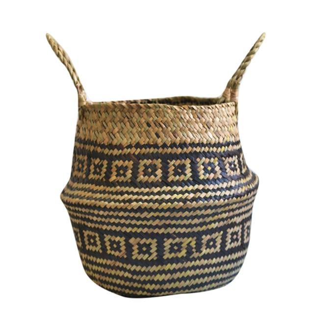 Seagrass Wicker Basket Flower Pot Folding Basket Dirty Storage Basket Sundries Underwear Toy Box Cosmetic Book Organizer
