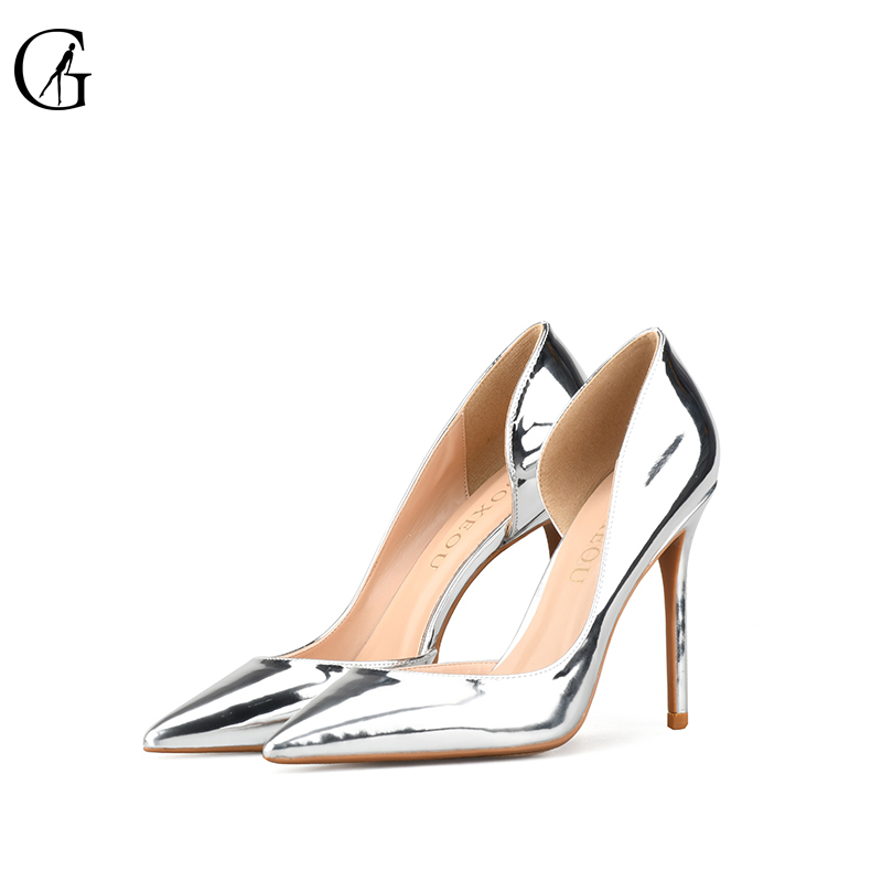 GOXEOU 2018 Women Pumps size32-46 Thin High Heels Sexy Pointed Toe Sequined Cloth Wedding Office Handmade Free Shipping