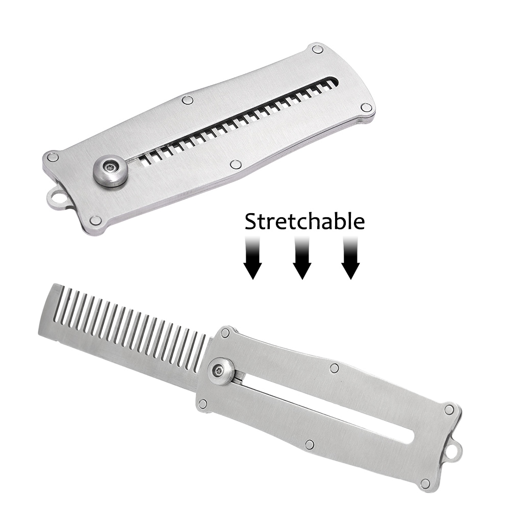 Stainless Steel Portable Men's Beard Comb Male Mustache Shaving Brush Pocket Comb Facial Hair Beard Man shaped Brush Tool 3