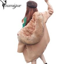 YOUMIGUE 2017 New Winter Parka Wool Cashmere Coat Women Fur Jacket Overcoat Collar Hooded Rex Rabbit Fur liner Female outwear