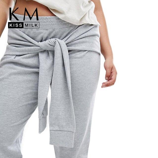 Kissmilk Плюс Размер Новая Мода Женская Одежда Повседневная Уличная Твердые Брюки Закрепки Теплые Брюки Большой Размер 3XL 4XL 5XL 6XL