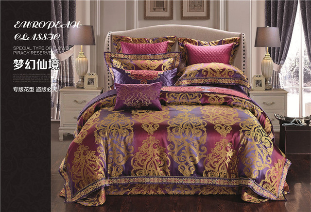 Attractive Silver Purple Luxury Satin Cotton Wedding Decorative Bedding Sets Queen  King Size Duvet Cover Bed Spread
