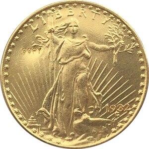 Оптовая Продажа Реплика 1932 $20 ST Gaudens Монета КОПИЯ 100% Копер производство позолоченный