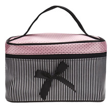 Portable Make up Bags Women 2016 Hot Sale Square Bow Stripe Travel Cosmetic Bag Toiletry Case