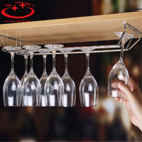 Double Rows Stainless Steel Cup Holder Champagne Glass Row Red Wine Rack Cabinet Stemware Goblet Hanging