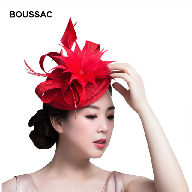 2018 New Arrival ladies hair loops fascinator accessories wedding white  navy church hats classic chapeau caps featehr fedora hat 2f38d947e68