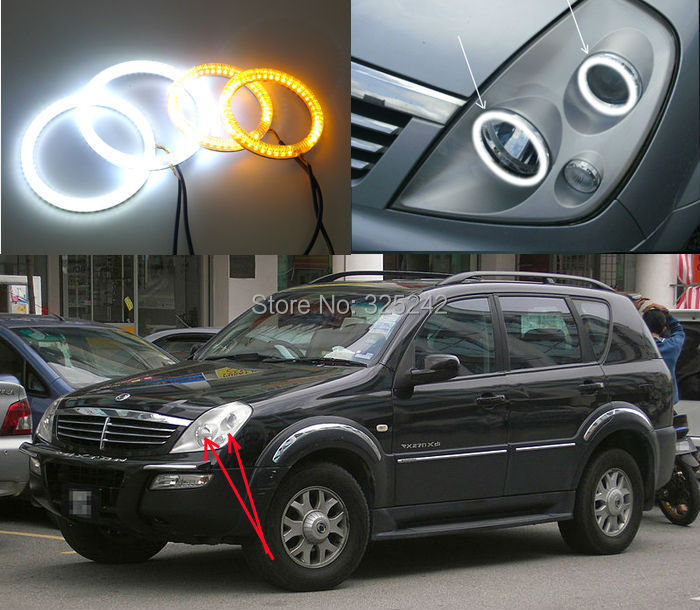 For Ssangyong Rexton 2003 2005 Excellent Ultrabright Dual Color Switchback smd LED Angel Eyes Halo Rings kit