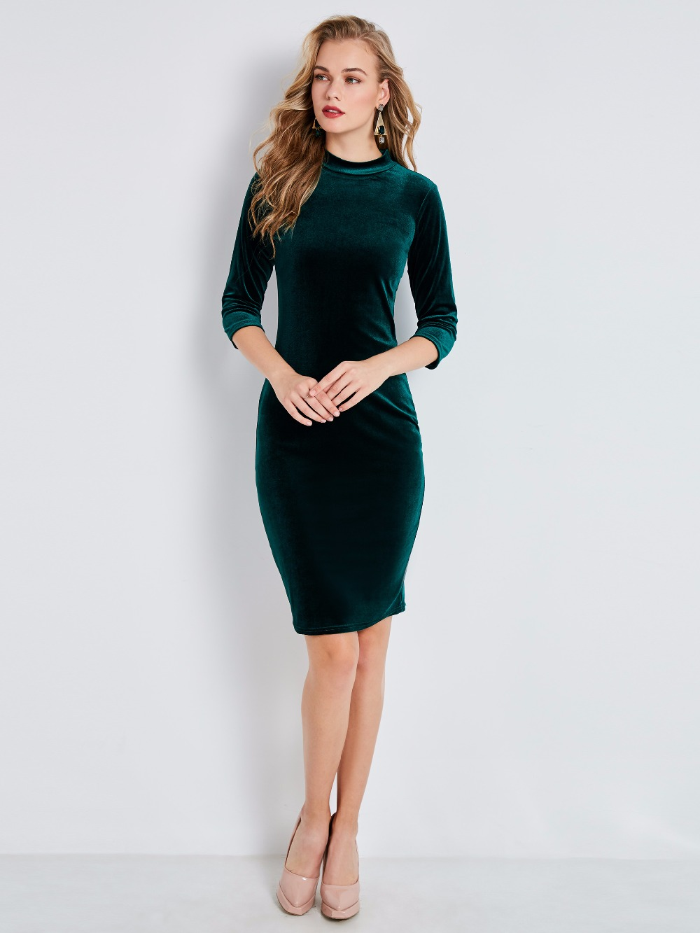 Enchanting Rosetic Bodycon Dress Women Hunter Green Autumn Stand Collar Plain Waistparty Sheath Slim Goth Female Dresses Dresses Rosetic Bodycon Dress Women Hunter Green Autumn Stand Collar Plain wedding dress Hunter Green Dress