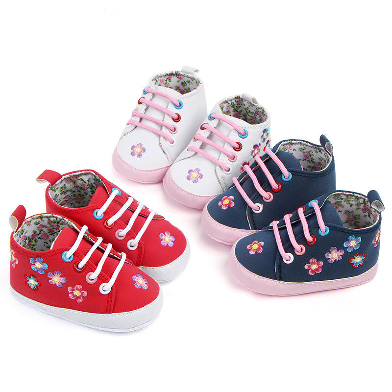 a7cd69a51 Embroider Newborn Baby Girls Boys Crib Shoes Floral Slip-On Cotton Soft  Sole Baby Casual