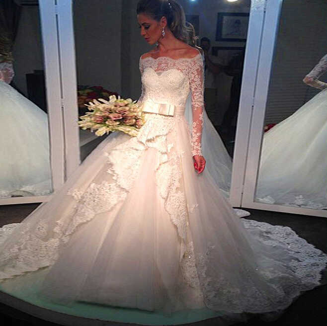 חלוק דה Mariee 2021 ארוך שרוול תחרה חתונה שמלות כדור שמלה כבוי כתף חתונת שמלת Vestido דה Noiva כלה שמלות