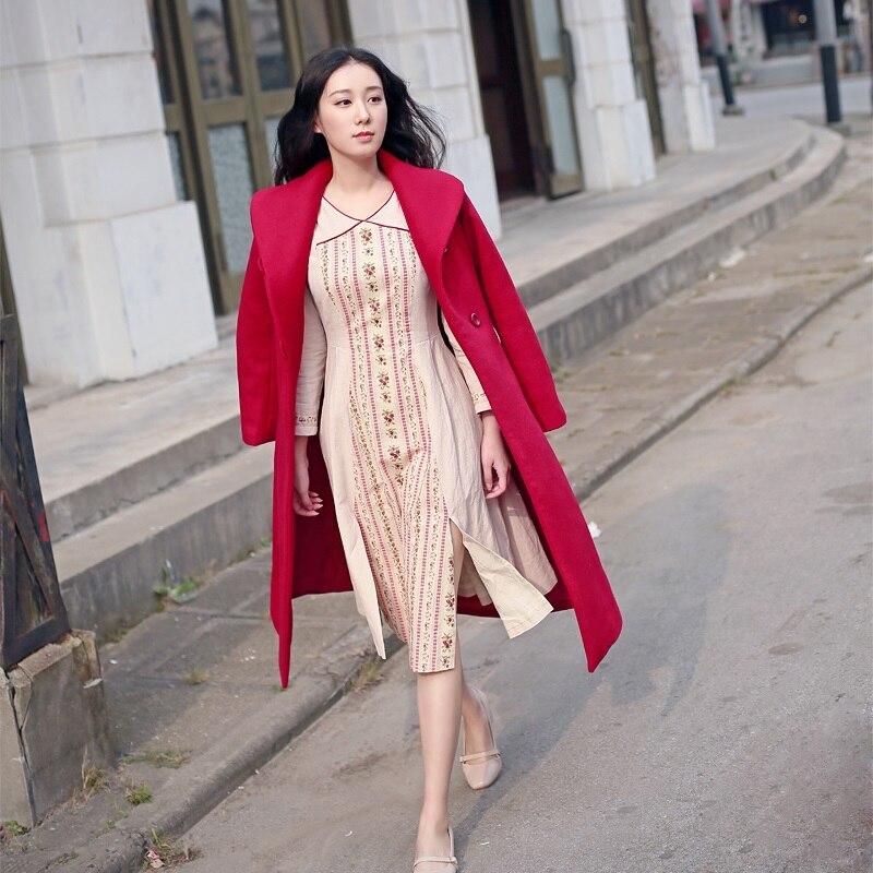 LYNETTE'S CHINOISERIE printemps automne femmes fluide Vintage Slim patte robe à manches longues