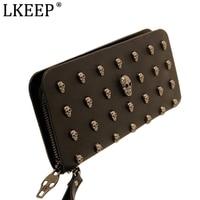 2016 Hot Sale Women Wallets Metal Skull Wallet Card Purse Leather Wristlet Portefeuille Handbags Carteira Feminina