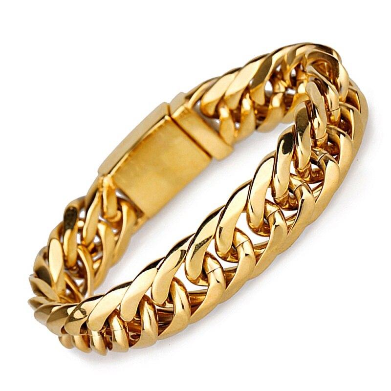 Prix pour Hommes Lien Chaîne En Acier Inoxydable Bracelets Large Bracelet En Or Classique Poignet Bracelet Bijoux De Mode Homme