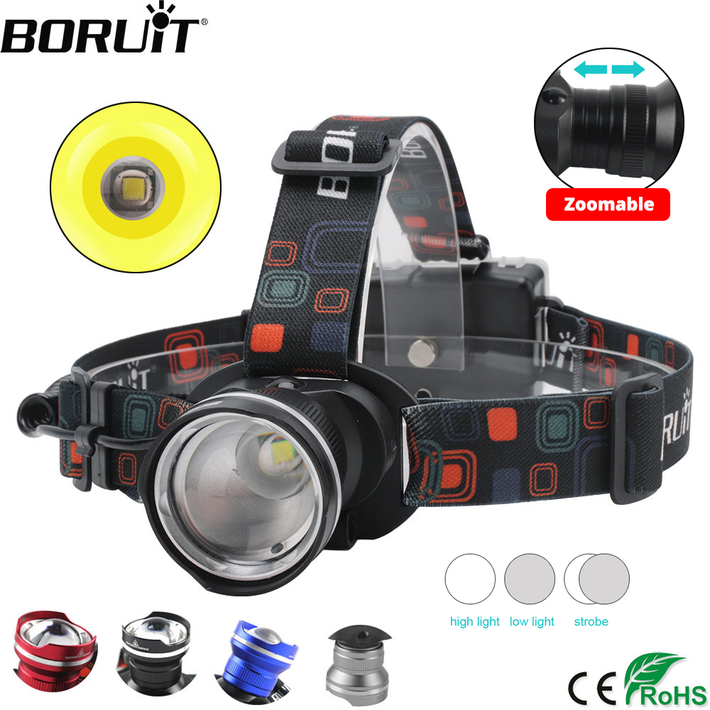 BORUiT RJ-2166 4000LM T6 LED Koplamp 3-Mode Zoom Koplamp Waterdichte Head Torch Camping Jacht Zaklamp door AA Batterij