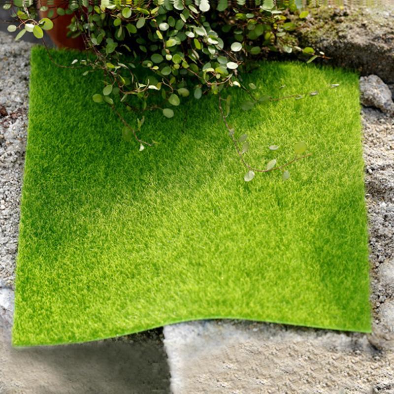 New Artificial Lawn Miniature Garden Ornament Fake Grass Figurine Craft Plant Pot Fairy Decor 15x15cm/30x30cm