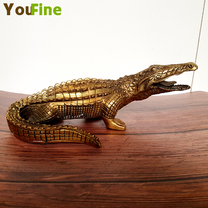 Beautiful bronze crocodile statue work exquisite collection must-have gifts preferred crafts