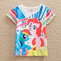 Ordenada al por menor muchacha del verano niños camisetas niños camisetas niños ropa de niña de mi pony pequeño bebé ropa de la muchacha Camiseta de algodón G6138