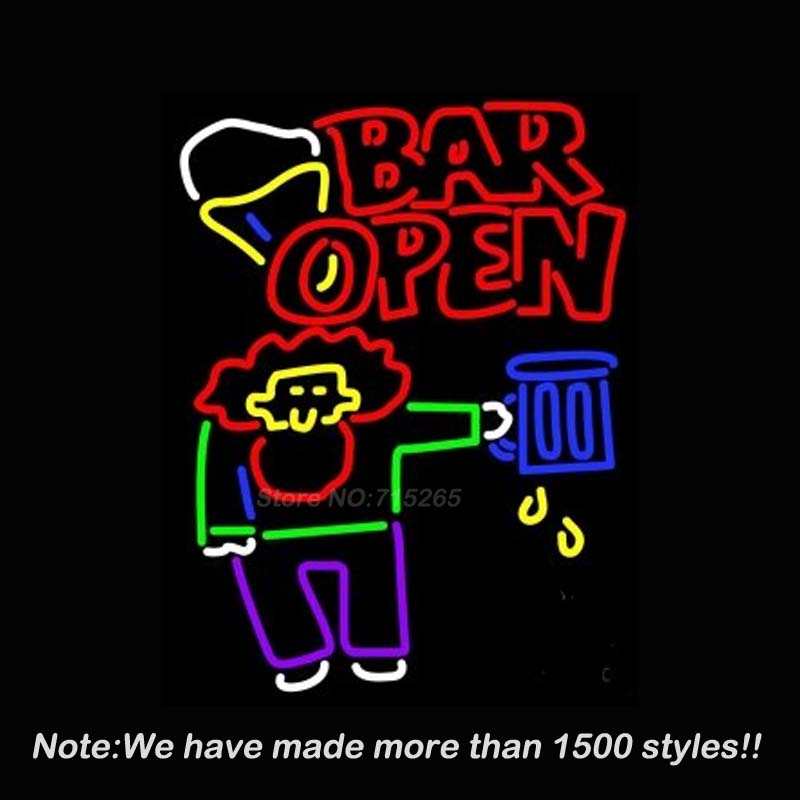 Bar Open Real Glass Neon Light Sign Neon Bulbs Beer Bar Pub Store Display Decorate Real Glass Tube Handcraft Free Ship 24x24