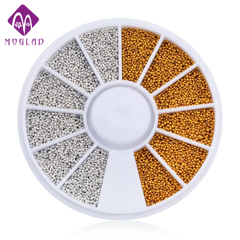 Gold silver small steel beads for nail decoration glitter wheel nail manicure tips 3D nail art decorations