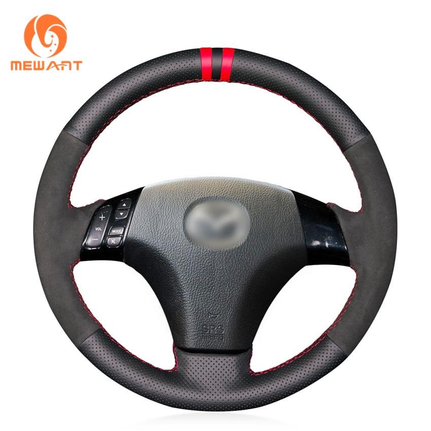 MEWANT Black Genuine Leather Suede Steering Wheel Cover for Mazda 3 Axela 2003-2009 Mazda 5 2004-2010 Mazda 6 Atenza 2004-2008 цена 2017
