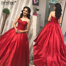 Ball-Gown Prom-Dresses Sweetheart Strapless Lace Red Corset Satin Dark
