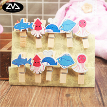 10pcs/lot Mini Wood Clip Ocean World Photo paper Clothespin Craft Clips Party decoration Clip with Hemp Rope stationery gift 10pcs lot creative original eco home decoration wooden clip photo paper craft clips party decoration clips