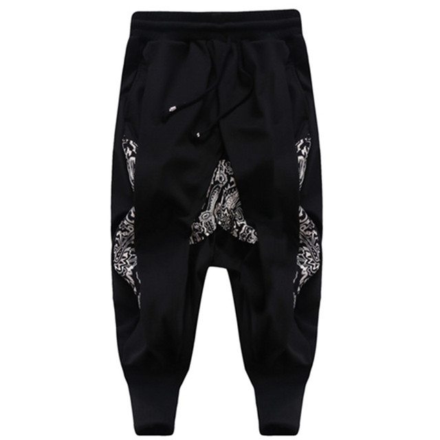Harem Pants Men Clothing Casual Letter Printed Elastic Waist Trouser Sportmen Loose Black Sweatpants Hip Hop Rock Style 2XL