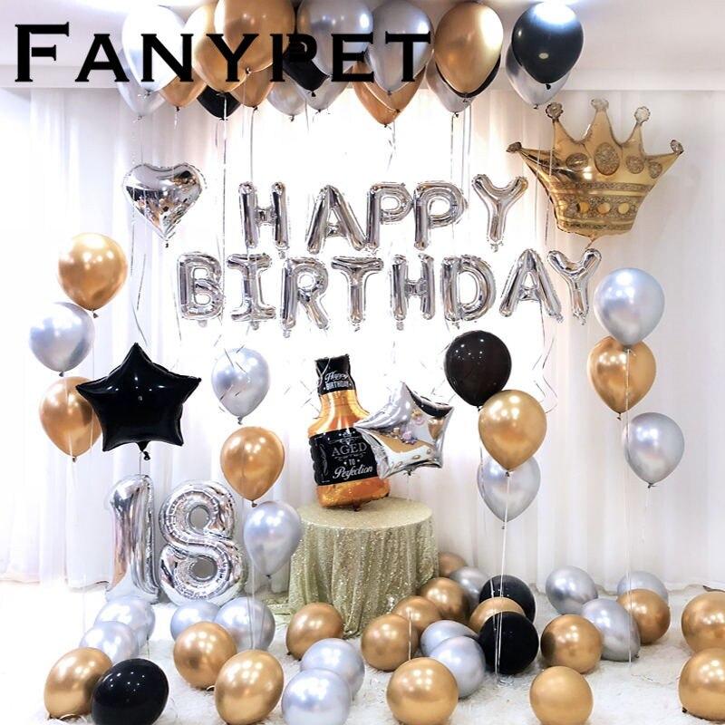 26 Unids/lote 32 Pulgadas Feliz Cumpleaños 18 Plata Número