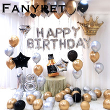 26pcs/lot 32inch Happy 18 Birthday silver Foil number Balloons Metallic Globos 18th Anniversary brithday Party Decor Supplies
