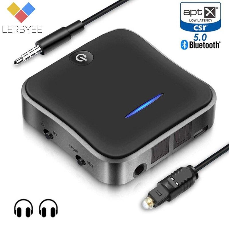 Lerbyee Bluetooth 5.0 émetteur récepteur sans fil adaptateur Audio aptX HD faible latence Audio 3.5mm Aux pour casque TV
