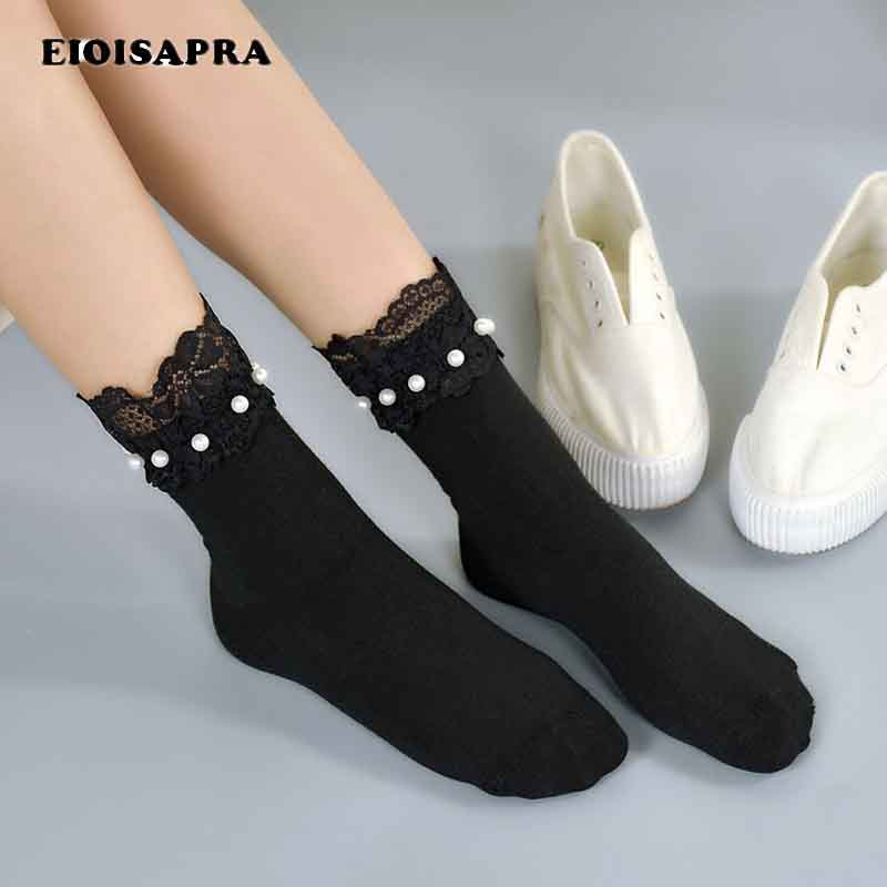 [EIOISAPRA]Spring Summer New Product   Socks   Women Japan Harajuku Silk Lace Pearl Meias Soft Concise Comfort Handmade Sokken