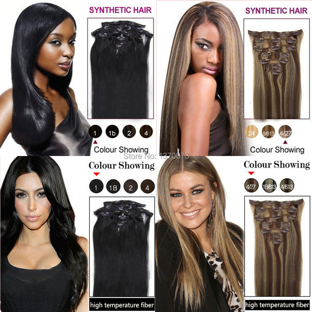 Ombre Color Hair Extensions Cheap Clip In Straight 24 7 Piecesset